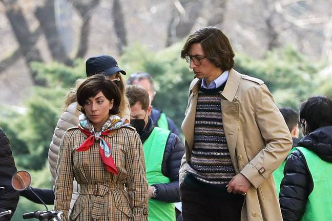 Lady Gaga and Adam Driver were spotted on set of House of Gucci in Italy (Credit: Getty)