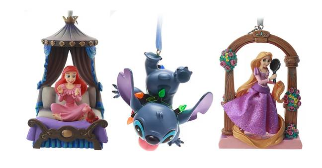 Left to right: Ariel, Stitch and Rapunzel baubles (Credit: Disney)