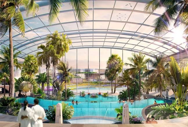 Family-friendly areas will include indoor and outdoor pools plus relaxation areas (Credit: The Therme Group)