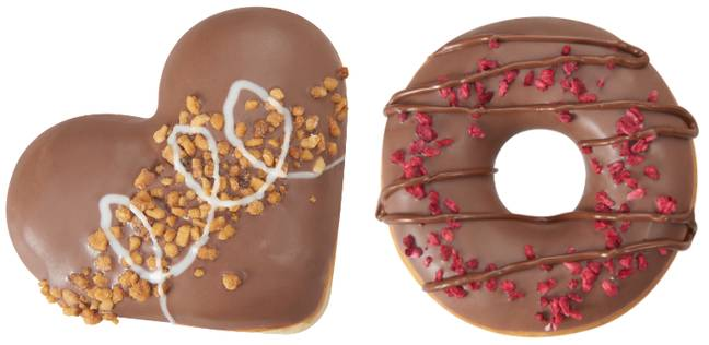 There are two to choose from - a Nutty Chocolatta Heart and a Nutty Filled Berry Ring (Credit: Krispy Kreme/Nutella)