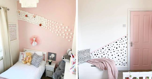 Sophia-Marie used vinyl and marshmallow coloured paint for this adorable finish (Credit: Instagram / @home.with.ivy)