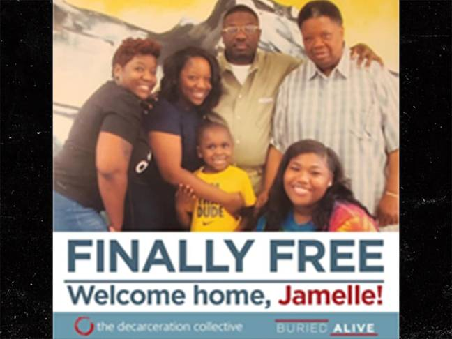 Jamelle is freed after 11 years behind bars. Credit: Buried Alive campaign