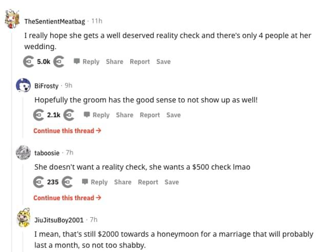 Reddit did *not* approve of the bridezilla's text (Credit: Reddit)