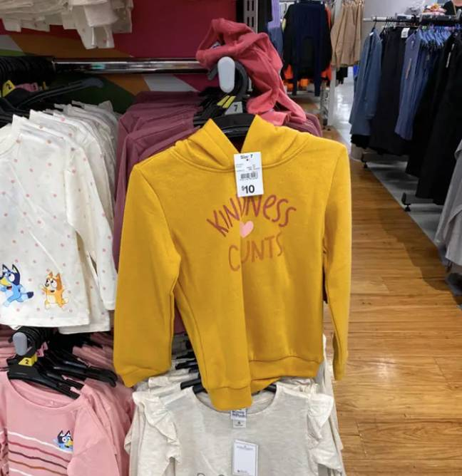 This jumper was snapped with a similar 'rude' faux pas (Credit: Caters)