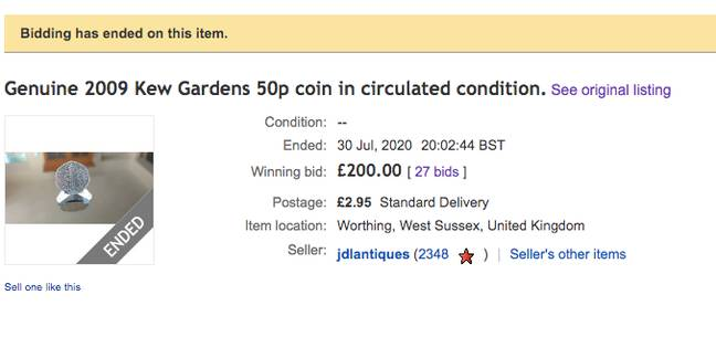 The coin has sold for £200 on eBay (Credit: eBay)