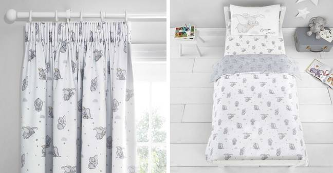 Pencil Pleat Blackout Curtains (£45-£55) and Dumbo Cot Bed Duvet and Pillowcase Set (£25) (Credit: Dunelm)
