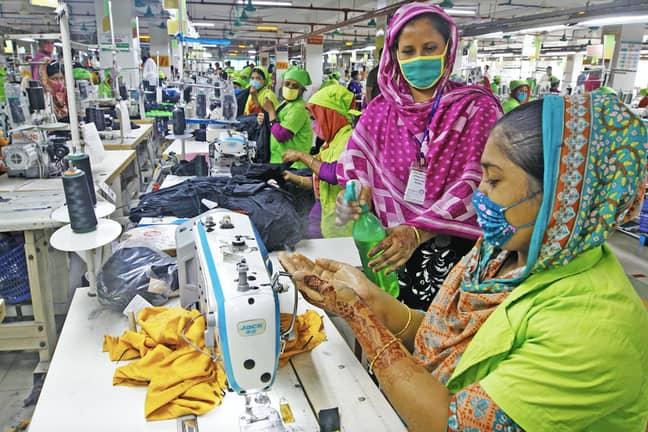 A garment factory in Bangladesh during the coronavirus pandemic (Credit: PA)