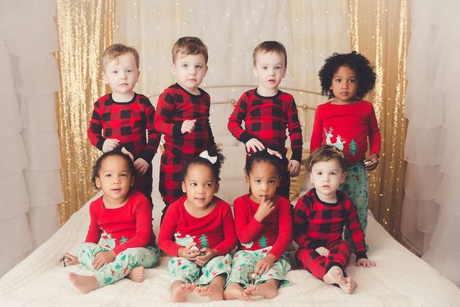 The proud parents are sharing these adorable Christmas snaps of their kids taken over the last four years to show how much their quads (Credit: Caters)