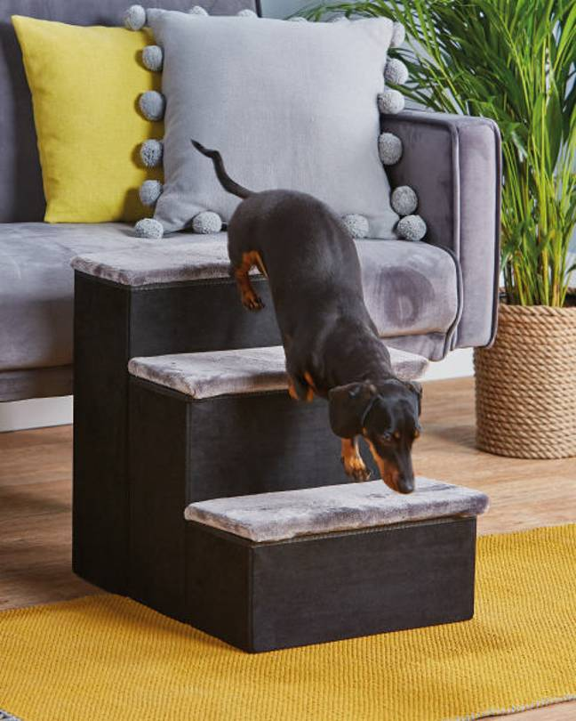 The steps make it easier for your pooch to climb on and off the sofa (Credit: Aldi)
