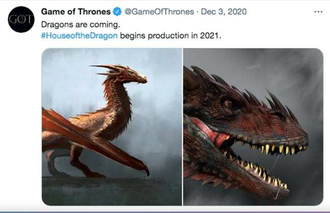 Game Of Thrones teased 'Dragons are coming' (Credit: Game of Thrones/ Twitter)