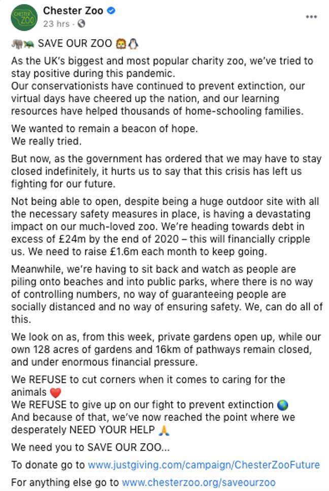 The zoo shared an emotional post on Facebook (Credit: Chester Zoo/Facebook)
