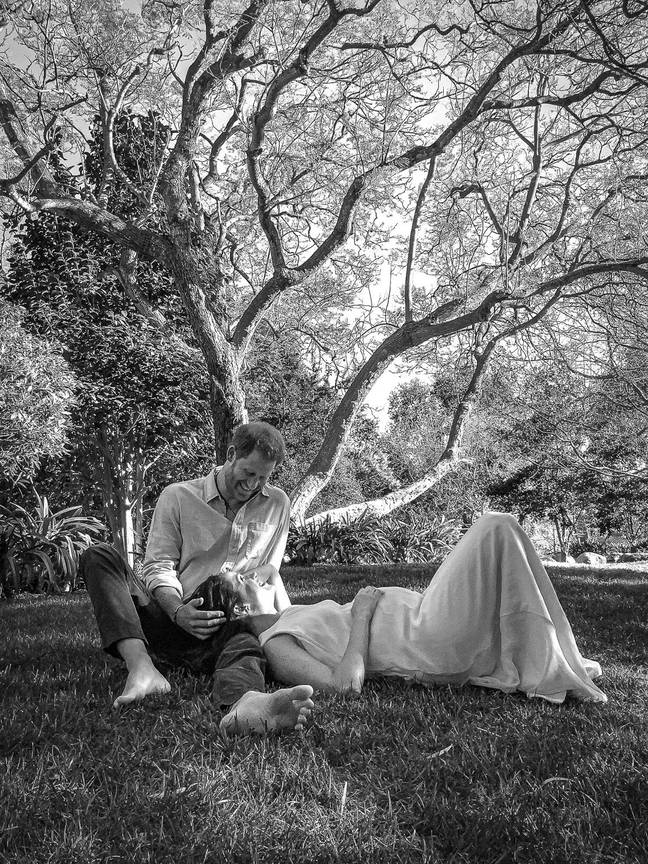 Harry and Meghan announced their baby news on Sunday (Credit: Misan Harriman)