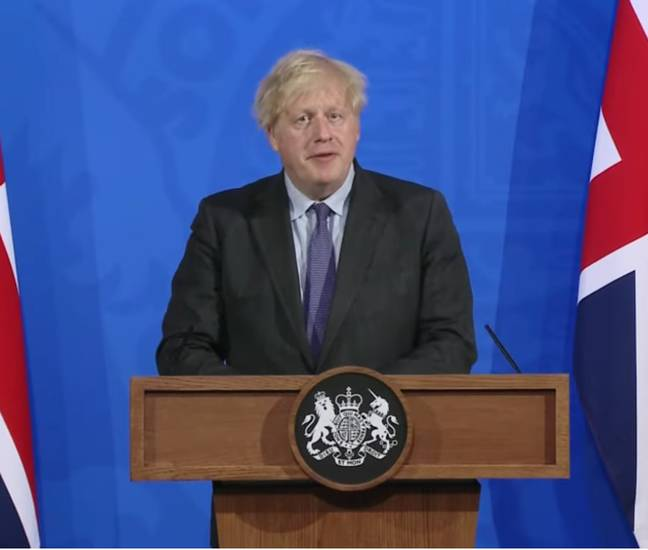 Boris made the announcement on Monday evening (Credit: Downing Street)