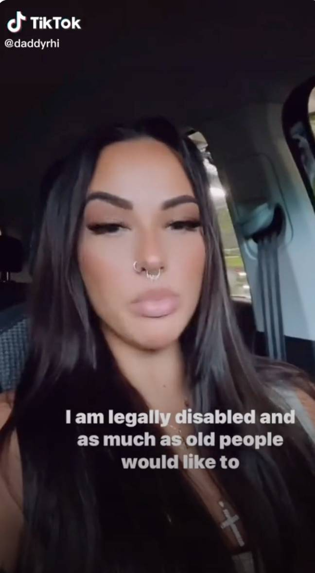 The TikTok explained that she is legally disabled and has to park in disabled parking spaces (Credit: @daddyrhi-TikTok)
