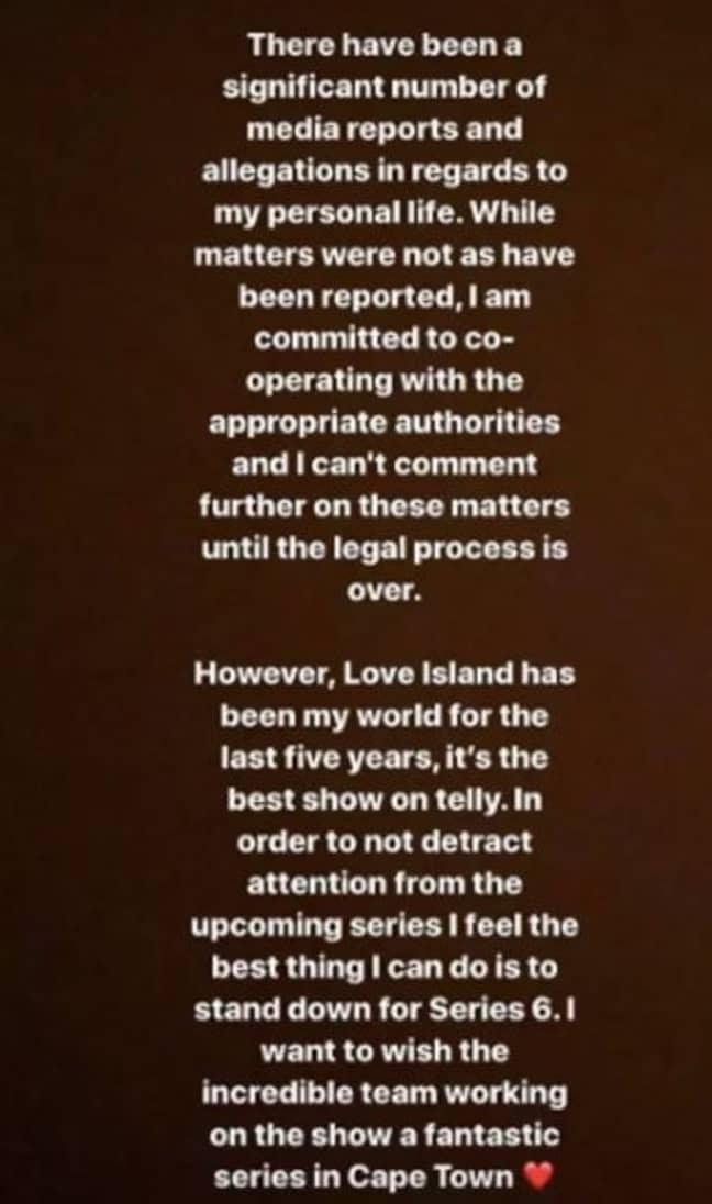 Caroline released a statement on Tuesday (Credit: Instagram/Caroline Flack)