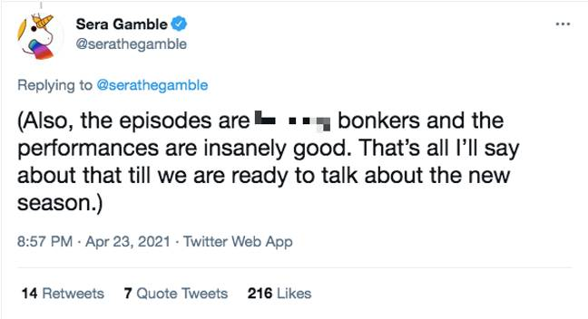 The You showrunner said the series was going to be 'f*cking bonkers' (Credit: Twitter/ Sera Gamble)