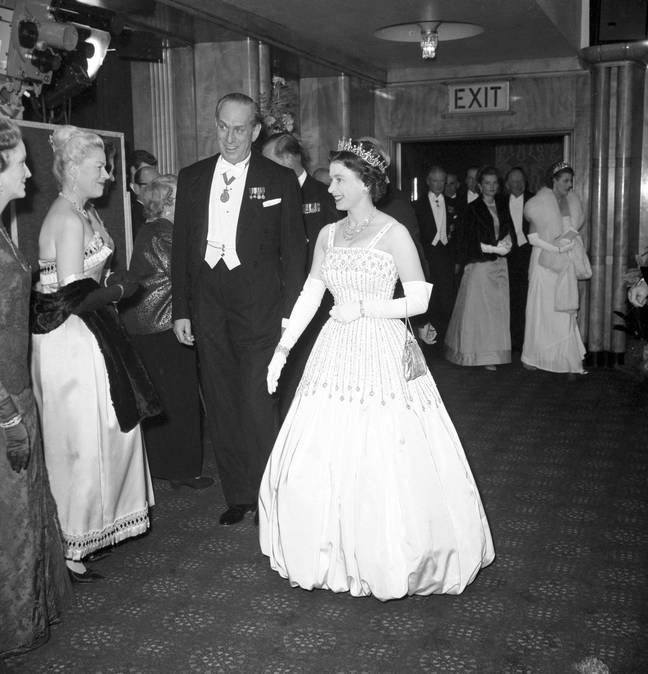 The Queen wore the exact same dress to the 1962 premiere of 'Laurence of Arabia' (Credit: PA)