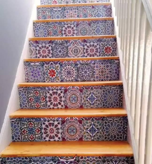 Sandra Young also designed some stairs with B & Q tiles Credit: Sandra Young