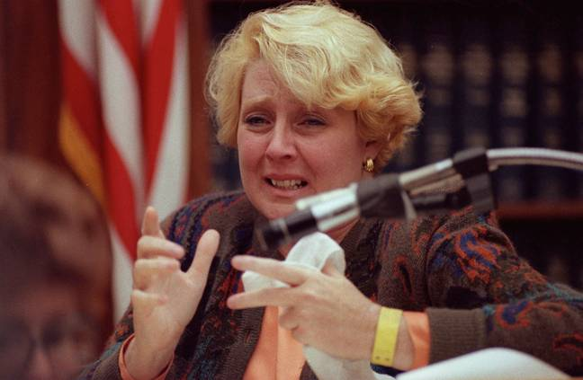 Betty testifying in her own defense, during her trial (Credit: PA)