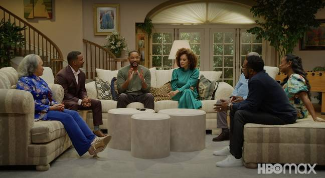 The Fresh Prince of Bel-Air cast members on a recreated set (Credit: HBO Max)