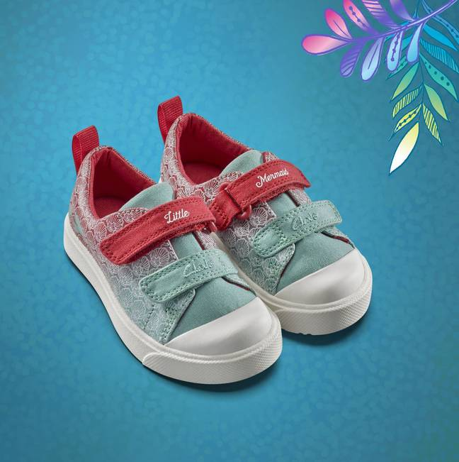 The canvas shoes in 'Ariel' colours feature the words 'Little Mermaid' (Credit: Clarks)