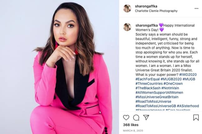Sharon Gaffka on International Women's Day 2020 (Credit: Instagram/sharongaffka)