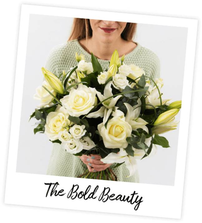 The Bold Beauty bouquet pays tribute to British powerhouse Emma Watson with classic ivory roses (Credit: Interflora)
