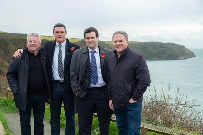 Steve Wilkins, Luke Evans, David Fynn and Jonathan Hill on set of The Pembrokeshire Murders (Credit: ITV)
