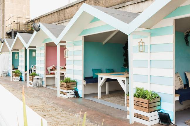 Hire a beach hut at the unusual venue from £30 for up to six guests (Credit: Neverland London)