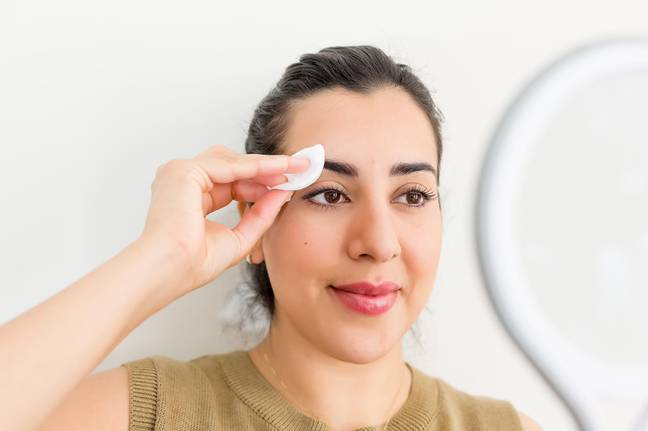 Once finished, use a cotton pad to apply aftercare such as aloe vera, witch hazel or pure rose water (Credit: Suman Brows)