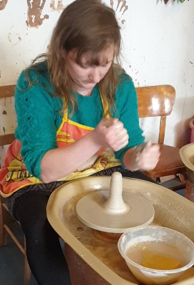 For the first stage of the design process a 'ceramic sausage' is made using the clay wheel (Credit: Caters)
