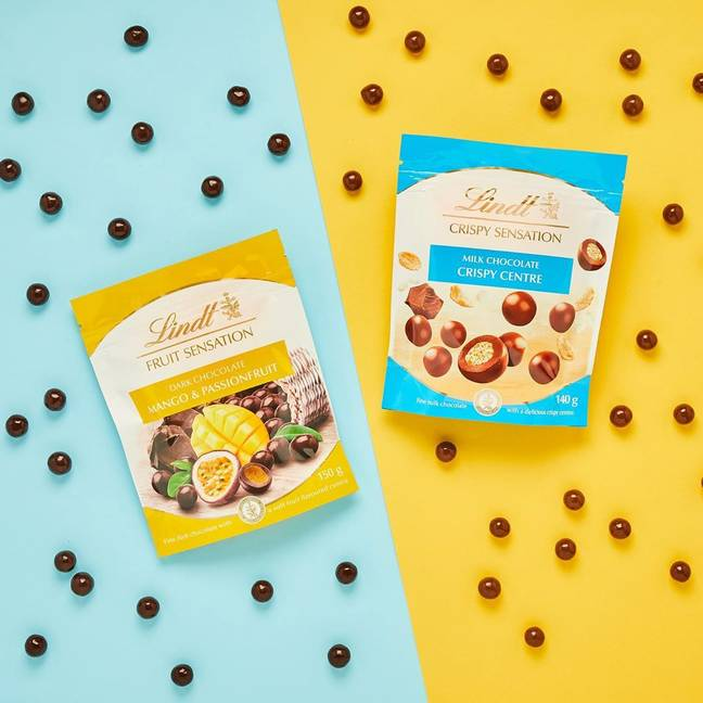 The Lindt Sensations balls come in two flavours: one with a centre of crisp puffed rice, the other with fruity mango (Credit: Lindt)