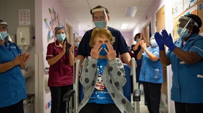 Margaret Keenan at University Hospital in Coventry (Credit: PA)
