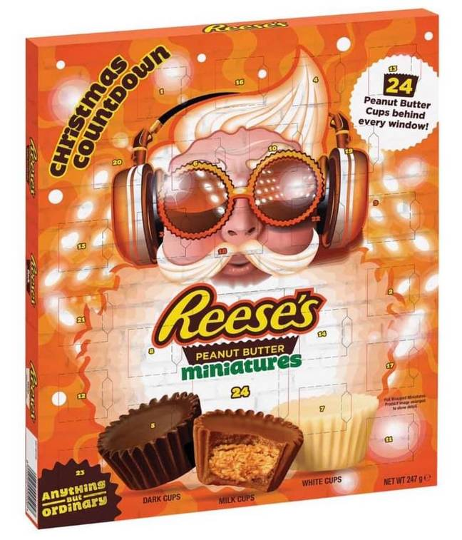 The bright orange advent calendars come with 24 peanut butter cups stashed behind the windows (Credit: Reese's)
