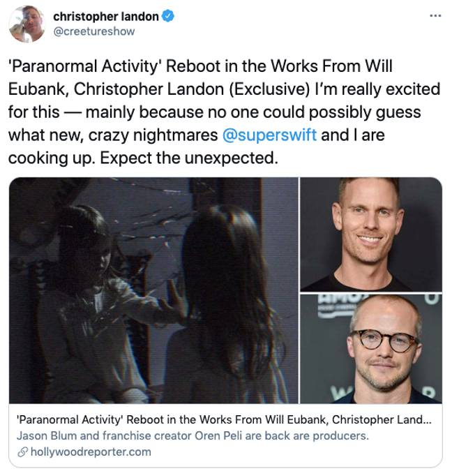 Christopher tweeted 'expect the unexpected' (Credit: Christopher Landon/Twitter)