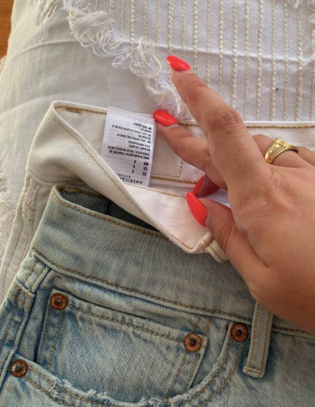 The size eight jeans looked remarkably smaller (Credit: Twitter)