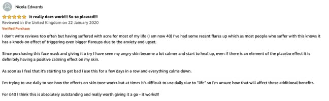 Nicola said she saw results in her skin in just a few days (Credit: Amazon)