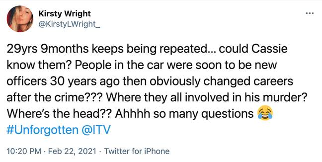 Fans think DCI Cassie once knew the four former police officers in the car (Credit: Twitter)