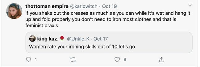 The post actually contained useful advice to avoid ironing (Credit: Twitter)