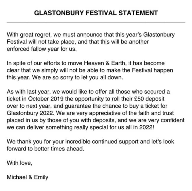 The Glastonbury statement in full (Credit: Twitter @emilyeavis)
