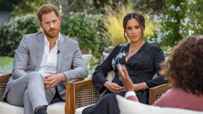 Harry and Meghan on the CBS interview (Credit: CBS)