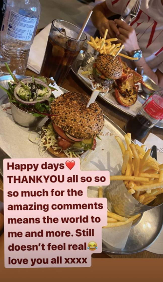Dani thanked friends and followers for all their comments (Credit: Dani Dyer/Instagram)