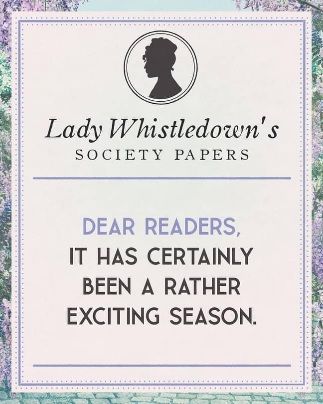 Lady Whistledown's society papers (Credit: Instagram/bridgertonnetflix)