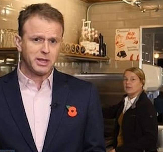 The barista gave a startled look to camera (Credit: Good Morning Britan)