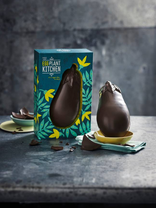 The egg features thick, dairy free chocolate, crafted into a cheeky aubergine shape (Credit: M&S)