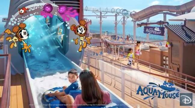 an actual 760ft long water ride attraction on the top deck, named the Aqua Mouse (Credit: Disney)