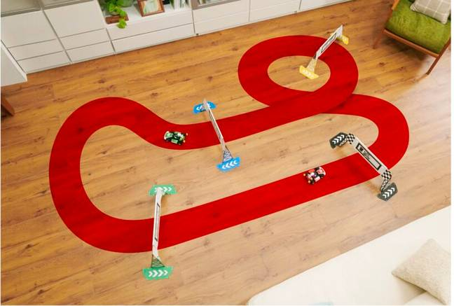 To get started, you need to set up a physical track in your home using the gates provided (Credit: Nintendo)