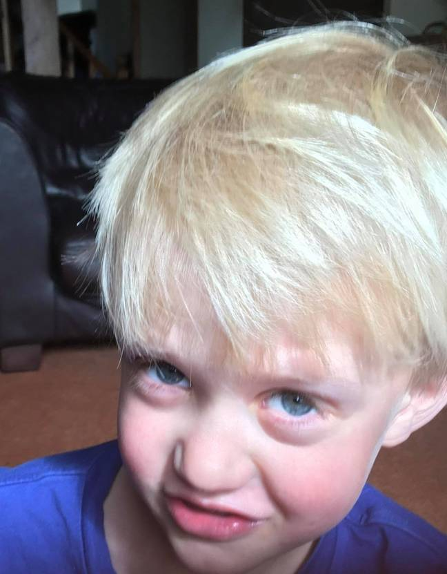 One mum was left in hysterics when her son took a pair of children's scissors to his blonde locks (Credit: Caters News)