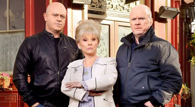 Ross pictured with Barbara Windsor and Steve McFadden on the EastEnders set (Credit: BBC)