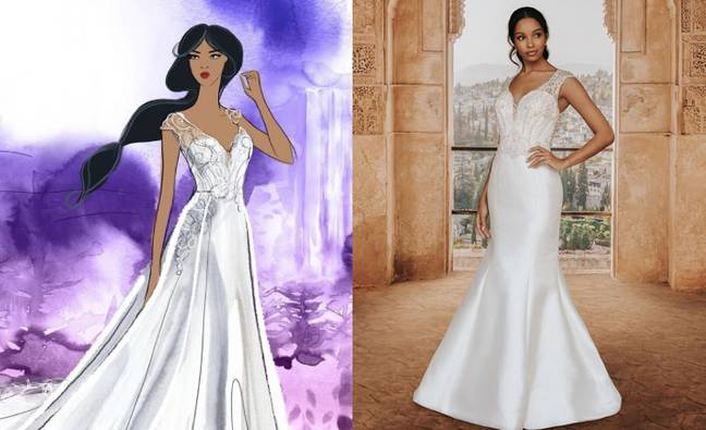 One of the Jasmine-inspired dresses features an embroidered beaded bodice (Credit: Allure Bridal/Disney)